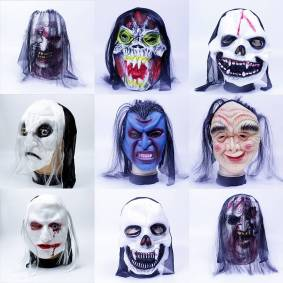 Newchic Halloween Horror Mask Ghost Masquerade Zombie Whole Person Long Hair Bleeding Face Headgear