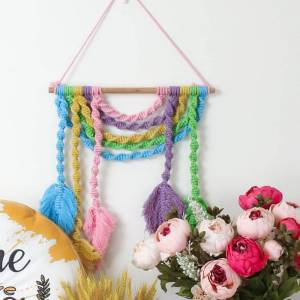 Newchic Nordic Bohemian Woven Tapestry Color Cotton Thread Leaf Tassel Home Decoration Pendant