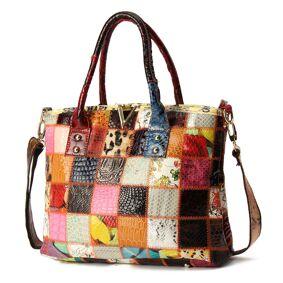 Newchic Women Genuine Leather Vintage Tote Handbags Large Capacity Stitching Crossbody Bag