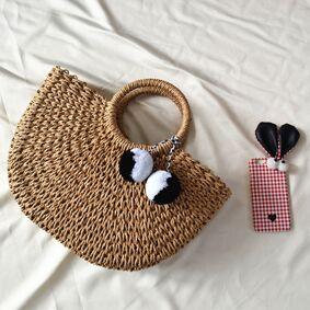 Newchic Women Straw Handbag Woven Plush Ball Beach Bag