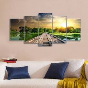 Newchic 5Pcs Modern Art Printing Lake Landscape Poster Canvas Painting Home Wall Decor