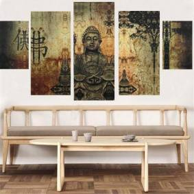 Newchic Frameless Huge Buddha Abstract Canvas Oil Painting Modern Art Home Wall Decoration