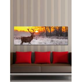 Newchic Single Spray Oil Paintings Forest Sunrise Wild Deer Scenery For Home Decoration Paintings Wall Art