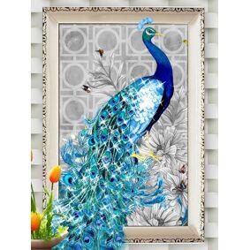 Newchic DIY Peacock 5D Diamond Embroidery Paintings Rhinestone Pasted Diamond Mosaic Room Decor