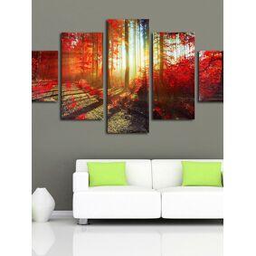 Newchic 5PCS Sunset Canvas Painting Unframed Landscape Huge Modern Wall Art Home Decor