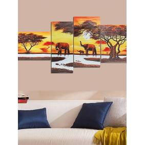 Newchic 4Pcs African Forest Elephants Canvas Landscape Oil Painting Unframed Home Decoration