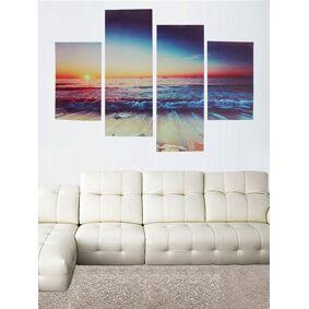 Newchic 4Pcs Canvas Painting Frameless Modern Sunset Beach Wall Art Picture Print Living Room Home Decor