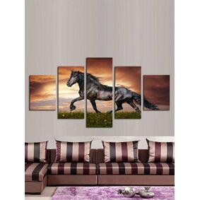 Newchic 5Pcs Modern Canvas Painting Frameless Wall Art Running Horse Bedroom Living Room Home Decor