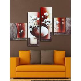 Newchic 4Pcs Modern Abstract Canvas Painting Frameless Wall Art Flowers Bedroom Living Room Home Decor