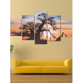 Newchic 5PCS Sunset Tree Canvas Painting Unframed Landscape Huge Modern Wall Art Home Decor
