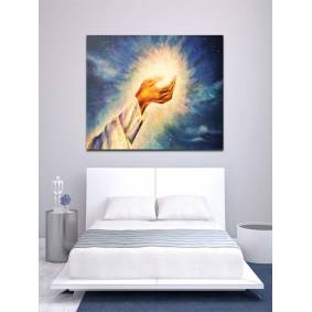 Newchic Hand Painted Oil Paintings Light of Christ Wall Art Home Decoration Paintings
