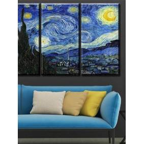 Newchic 3PCS Sky Unframed Oil Painting Canvas Mysterious Wall Art Living Room Home Decor