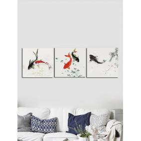 Newchic 3PCS Unframed Koi Fish Canvas Oil Painting Home Decor