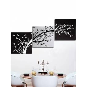 Newchic 3Pcs Modern Abstract Canvas Painting Frameless Tree Wall Art Bedroom Living Room Home Decor