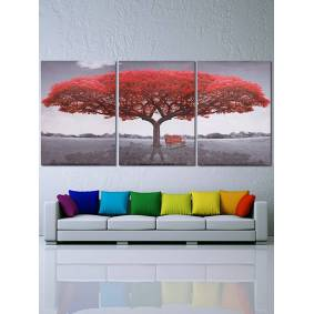 Newchic 3PCS Red Tree Unframed Landscape Modern Abstract Art Oil Painting Wall Decor