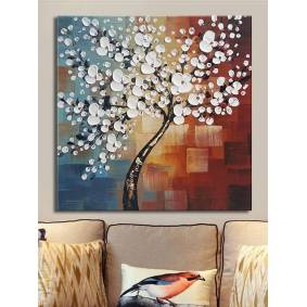 Newchic Framed Hand Paint Canvas Painting Home Decor Wall Art Abstract Flower Tree Decoration
