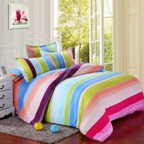 Newchic Polyester Colorful Stripes Single Twin Queen Reactive Bedding Set Bed Sheet Duvet Cover 3 Size