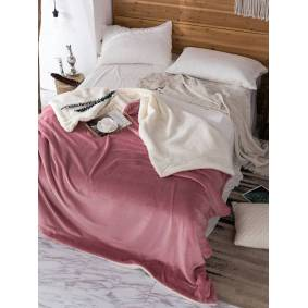 Newchic 200x230cm AB Sided Thick Flannel Shearling Winter Blanket Quilt Home Soft Bedding Queen Size