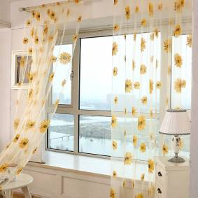 Newchic Sun Flower Voile Curtain Transparent Panel Window Room Divider Sheer Curtain Home Decor