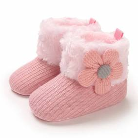 Newchic Baby Toddler Shoes Cute Knitted Appliques Decor Comfy Plush Warm Soft Snow Boots