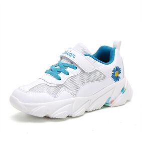 Newchic HOBIBEAR Unisex Kids Daisy Mesh Fabric Tie-dye Sole Sports Shoes Soft Sole White Chunky Sneakers