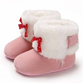 Newchic Baby Toddler Shoes Cute Bowknot Decor Comfy Plush Warm Soft Sole Hook Loop Snow Boots