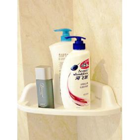 Newchic White PVC Bathroom Corner Shelf Strong Suction Organizer Storage Rack Holder