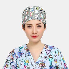 Newchic Cartoon Print Tie-back Surgical Caps Scrub Hat