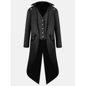 Newchic Mens Mid Long Style Vintage Tuxedo Cosplay Banquet Wedding Fashion Blazer