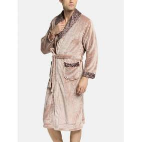 Newchic Mens Geometric Patterns Patchwork Lapel Thicken Warm Flannel Belted Cozy Loose Pajamas Robe