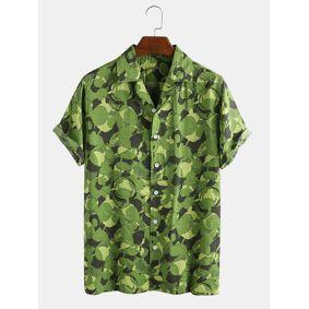 Newchic Mens Cotton Camo Graffiti Brush Dot Overall Printed Short Sleeve Shirt