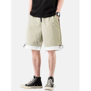 Newchic Mens Patchwork Breathable Elastic Drawstring Casual Thin Shorts