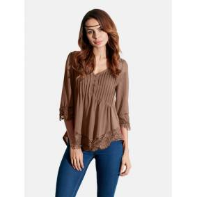 Newchic Sexy V Neck Lace Crochet 3/4 Sleeve Slim Blouse for Women
