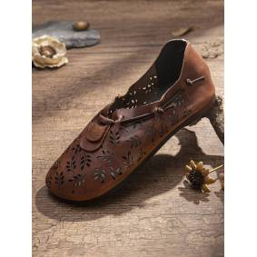 SOCOFY Retro Leaves Carved Hollow Out Cowhide Leather Elastic Flat Shoes