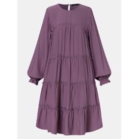 ZANZEA Solid Color Ruffle Dress