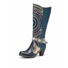 Socofy Tribal Style Pattern Floral Embossed Genuine Leather Mid-calf Boots