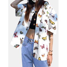 Newchic Butterfly Print Short Sleeve Shirt