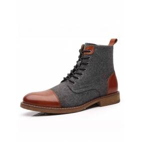 Newchic Men British Style Cap Toe Ankle Boots