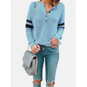 Newchic Patchwork Button Casual T-Shirt