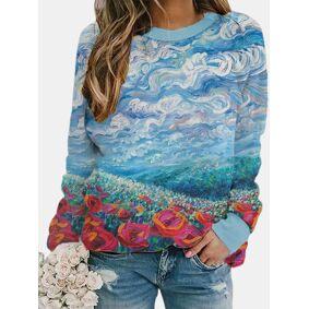 Newchic Landscape Print Long Sleeve Sweatshirts