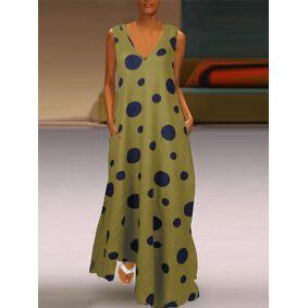 ZANZEA Polka Dot Print Maxi Dress