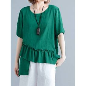 ZANZEA Asymmetrical Ruffled T-shirt