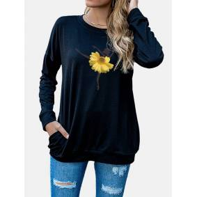 Newchic Daisy Floral Printed O-neck T-shirt