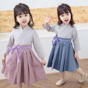 Newchic Girls Blue Plaid Belt Hanfu Skirt Season New Children's Wear National Wind Skirt In The Children's Princess Skirt Tide