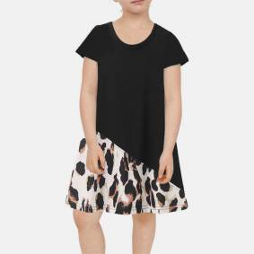 Newchic Girl's Leopard Print Patchwork Short Sleeves Casual Dress For 2-8Y