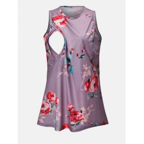 Newchic Maternity Floral Print Sleeveless Front Open Casual Purple Nursing Tops