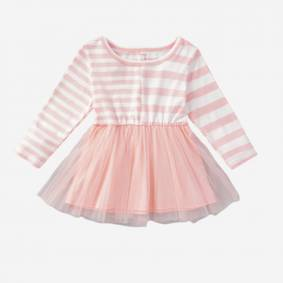 Newchic Baby Girl's Striped Print Long Sleeves Tulle Patchwork Dress For 3-18M