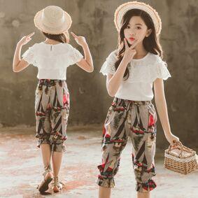 Newchic Girls' Suit Season New Children's Big Children's Lotus Leaf Ink Print Pants Set Tide Generation
