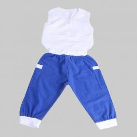 Newchic Boy's White Sleeveless Vest+Blue Pants Casual Sport Set For 1-7Y