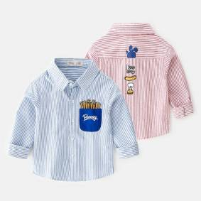 Newchic Boy Children Striped Cotton Cartoon Long-sleeved Shirt